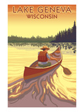 Lake Geneva, Wisconsin - Canoe Scene Prints by  Lantern Press
