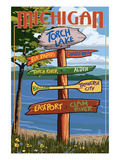 Torch Lake, Michigan - Sign Destinations Prints by  Lantern Press