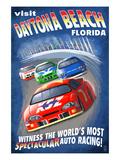 Daytona Beach, Florida - Racecar Scene Plakater af Lantern Press