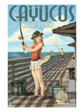 Cayucos, California - Pinup Girl Fishing Poster by  Lantern Press