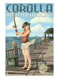 Corolla, North Carolina - Pinup Girl Fishing Posters by Lantern Press