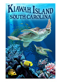 Kiawah Island, South Carolina - Sea Turtles Swimming Posters by Lantern Press