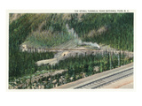 Yoho Nat'l Park, British Columbia - Trains Exiting the Spiral Tunnels Posters by  Lantern Press