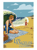 Los Angeles, California - Woman on the Beach Posters by  Lantern Press