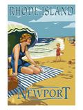 Newport, Rhode Island - Beach Scene Kunst von  Lantern Press
