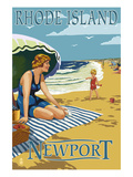 Newport, Rhode Island - Beach Scene Art by  Lantern Press