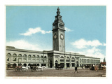 San Francisco, California - Exterior View of the Ferry Building with Clocktower Poster by  Lantern Press