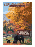 Park Entrance and Bear Family - Great Smoky Mountains National Park, TN Plakater af  Lantern Press