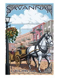 Savannah, Georgia - Horse and Carriage Art by  Lantern Press