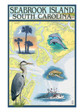 Seabrook Island, South Carolina - Nautical Chart Prints by  Lantern Press