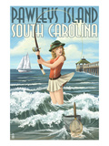 Pawleys Island, South Carolina - Surf Fishing Pinup Girl Prints by Lantern Press 