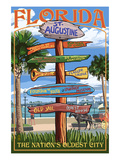 St. Augustine, Florida - Sign Destinations Prints by  Lantern Press