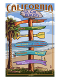 Southern California Beaches - Destination Sign Posters by  Lantern Press