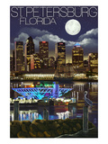 St. Petersburg, Florida - Night Skyline Print by  Lantern Press