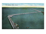 Miami, Florida - Aerial View of the Causeway Prints by Lantern Press 
