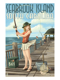 Seabrook Island, South Carolina - Pinup Girl Fishing Posters by Lantern Press