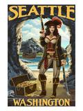 Seattle, Washington - Pinup Pirate Póster por Lantern Press