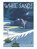 White Sands National Monument, New Mexico - Lightning Storm Prints by  Lantern Press