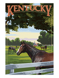 Kentucky - Thoroughbred Horses Farm Scene Art by  Lantern Press
