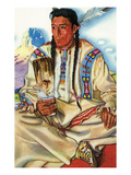 Portrait of Middle Rider, a Blackfeet Brave Prints by Lantern Press