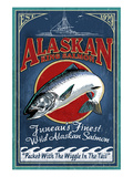Juneau, Alaska - Salmon Prints by  Lantern Press
