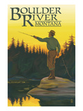 Boulder River, Montana - Fly Fishing Scene Poster by Lantern Press 
