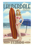 Ft. Lauderdale, Florida - Pinup Girl Surfing Posters by  Lantern Press