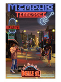 Memphis, Tennessee - Memphis at Night (Beale Street) Art by  Lantern Press