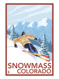 Snowmass, Colorado - Downhill Skier Poster by Lantern Press