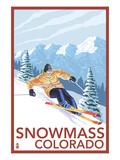 Snowmass, Colorado - Downhill Skier Poster by  Lantern Press