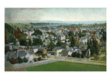 Santa Cruz, California - Panoramic View of Town Print by  Lantern Press