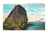Santa Catalina Island, California - Sugar Loaf View of a Ship Posters by  Lantern Press