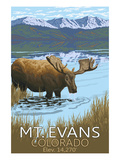 Mt. Evans, Colorado Elv. 14,270 - Moose and Lake Print by  Lantern Press