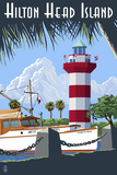 Hilton Head Island, SC - Harbour Town Lighthouse Print by  Lantern Press