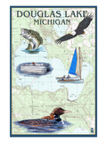 Douglas Lake, Michigan - Nautical Chart Affiches par Lantern Press