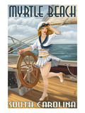 Myrtle Beach, South Carolina - Pinup Girl Sailor Posters by Lantern Press 