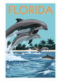 Florida - Dolphins Jumping Láminas por  Lantern Press