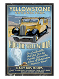 Yellow Bus - Yellowstone National Park Posters by  Lantern Press