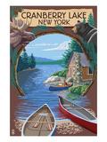 Cranberry Lake, New York - Cabin on Lake Montage Poster by  Lantern Press