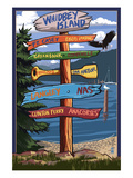 Sign Destinations - Whidbey Island, Washington Posters by  Lantern Press