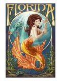 Florida - Mermaid Poster von Lantern Press