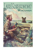 Lake Koshkonong, Wisconsin - Camping Scene Print by  Lantern Press