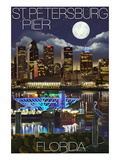 St. Petersburg, Florida - Night Skyline and Pier Prints by  Lantern Press