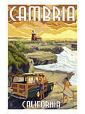 Cambria, California - Woody and Lighthouse Prints by  Lantern Press