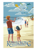 Lake Koshkonong, Wisconsin - Kite Flyers Prints by  Lantern Press