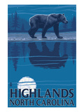 Highlands, North Carolina - Bear at Night Prints by Lantern Press 