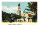 St. Augustine, Florida - View of the Cathedral from the Plaza Poster by  Lantern Press