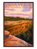 Mesa Verde National Park, Colorado - Cliff Palace at Sunset Poster von  Lantern Press