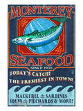 Monterey, California - Seafood Posters by Lantern Press