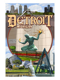 Detroit, Michigan - Montage Scenes Print by  Lantern Press